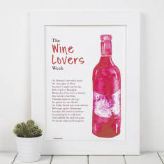 Wine lovers personalised poem print