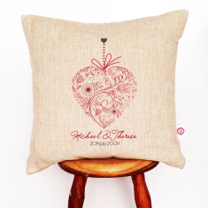 Ornament heart personalised linen cushion cover