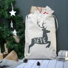 Personalised Reindeer Name Christmas Sack