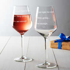 Personalised Just Right For Mum Wine Glass
