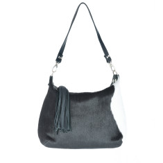 Alice Black + White Calf-Hair/Black Leather Bag