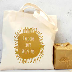 Gold I Bloody Love Shopping Reusable Tote Bag