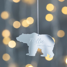 Personalised Mirrored Silver Baby Polar Bear Decoration