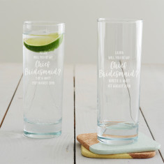 Personalised 'Will You Be My Chief Bridesmaid?' Hi Ball Glass