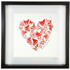 Framed Red and Pink Love Heart Artwork With Personalised Message