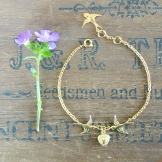 Charmaine gold swallows and heart bracelet