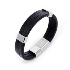 Men's black stripe bracelet