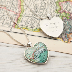 Map personalised heart pendant necklace