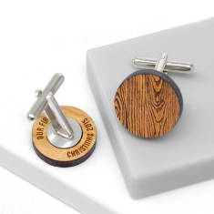 Wood grain secret message cufflinks