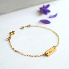 Personalised Sterling Gold Mini Bar Love Bracelet