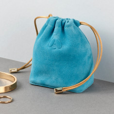 Embossed Travel Motif Luxury Suede Leather Jewellery Pouch and Removable Ring Cushion