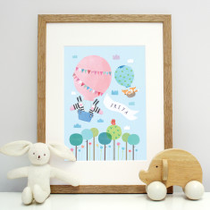 Personalised hot air balloon print