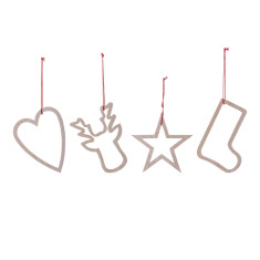Wooden Christmas ornaments (set of 4)