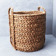 Large waterhyacinth basket with plaited handle