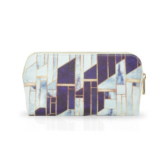 Blue & White Marble Effect Small Make Up Or Cosmetic Bag