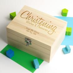 Personalised Christening Wishes Memory Box
