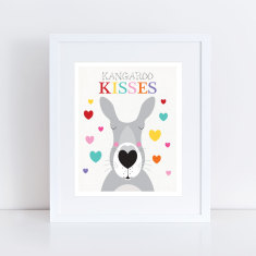 Kangaroo kisses nursery art print