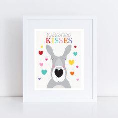 Kangaroo kisses nursery art print