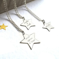 Personalised wish upon a star necklace (various colours & sizes)