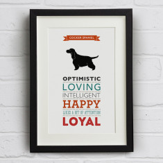 Cocker Spaniel Dog Breed Traits Print