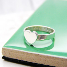 Personalised Chunky Heart Silver Ring
