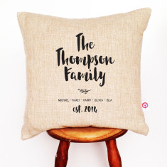 Hand written family personalised cushion cover