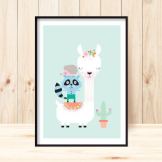 Llama and friends children's art print