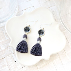 Sterling silver, Japanese chiyogami and grey tassel earrings