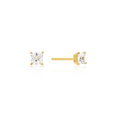 CZ Princess Cut Stud Earrings