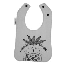 Head Dress Triangle Owl Hand Screen Printed Bib on Grey