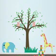 Tree With Giraffe and Elephant Wall Sticker