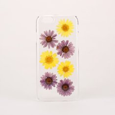 Purple & yellow real pressed flower phone case for iPhone or Samsung
