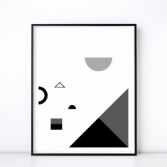Fete No. 2 Monochrome Geometric Art Print