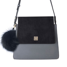 Mademoiselle medium suede & leather shoulder bag - Black