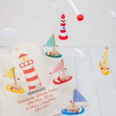 Wooden Sailing Boat Mobiles And Personalised Bag