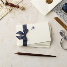 Hand Torn Monogrammed Note Card and Envelope