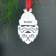 Personalised Beard Bobble Hat Santa Ornament