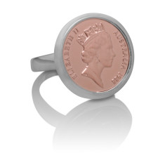 Queen Elizabeth Australian Rose Gold & Silver One Cent Coin Ring