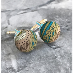 Turquoise peacock Liberty print cufflinks