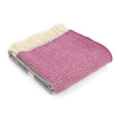 Wool Throw - Cerise/Grey