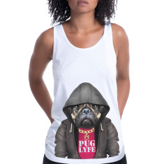 Pug Dog Male women's fitted singlet