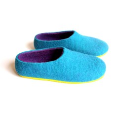 Womens wool slippers in purple and turquoise