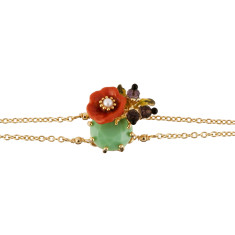 Orange Flower And Light Green Stone Bracelet