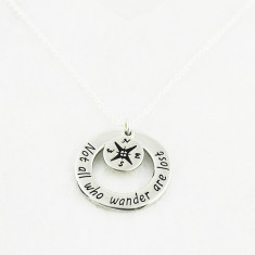 Not all who wander are lost necklace in silver