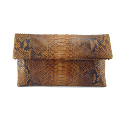 Caramel brown motif python leather classic foldover clutch