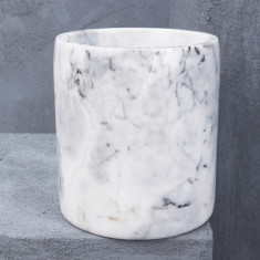 Natural Marble Canister Or Planter in White with Grey