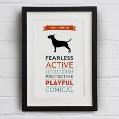 Bull Terrier Dog Breed Traits Print