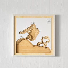 Wooden 3D contour map of Port Phillip Bay