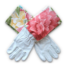 Protective Cuff leather gardening gloves in Colourburst Blooms