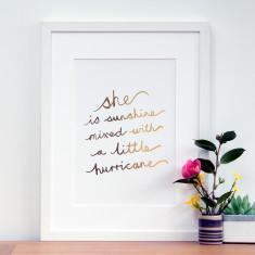 Gold foil sunshine quote print